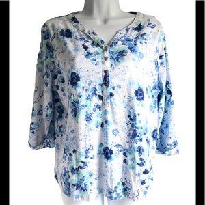Studio Works Top Shirt XL Petite Cotton Floral